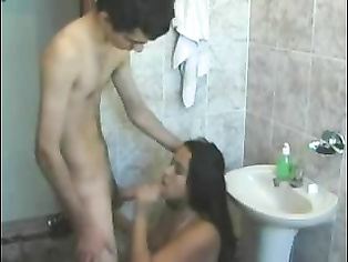 Indian student in London with her boyfriend washing herself after she wake up boyfriend comes in ans ask for BJ.