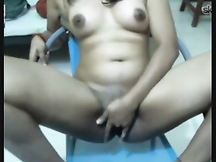 Indian college babe Shilka on Skype seducing her boyfriend naked on live webcam chat, playing with her juicy big tits.