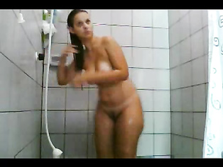 British indian girl taking shower playing with her bigtits and hairy pussy.