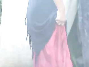 Super sexy Indian village girl wrapped in red dupatta taking open air show recorded by her neighbor from his house.