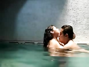 Newly married Indian couple on their honeymoon in Mauritius hotel swimming pool getting naughty.