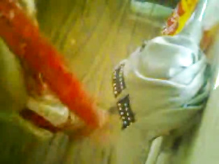 Indian girl in yellow churidaar caught on hidden cam doing a pee in toilet recorded by neighbor from roof!.