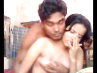 Horny Bangladeshi saali lying topless on top of her jijaji sucking his cock then juicy tits sucked and kissed and ass cheeks exposed in this MMS.