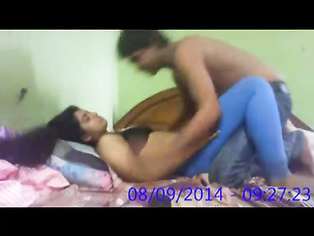 Horny Indian whore girlfriend in black bra stripping off her red panty showing her ass cheeks