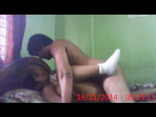 Horny guy guiding his cock into the tight anus of his mallu wife while showing her hairy cunt
