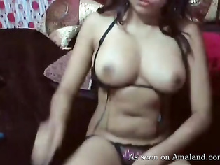 Busty Indian GF masturbating and sucking her toes.