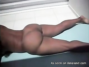 Fat ass Indian babe sunbathing at home.