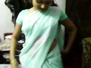 Horny Indian wife in saree striptease at home.