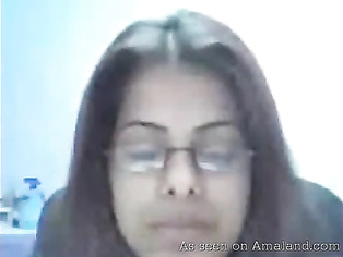 Indian cutie with glasses masturbating.