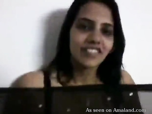 Indian girl showing her nice massive breasts and blowing my cock.