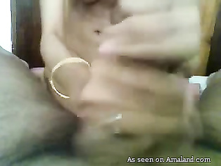 Indian girlfriend jerking me off and making me cum.