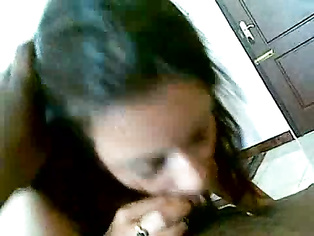 Sexy big-tittied amateur Indian chick sucks cock.