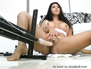 Stunning Arab girl with fucking machine.