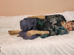 Rupali in bed in blue Indian shalwar suit teases then masturbates until her admirer explodes all over her pussy.