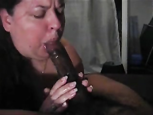 FAT White chick sucks BBC dry