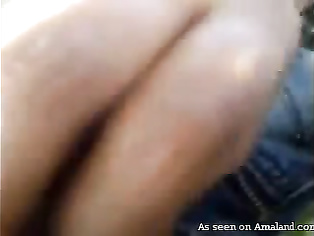 Indian girlfriend gives a blowjob on the balcony.