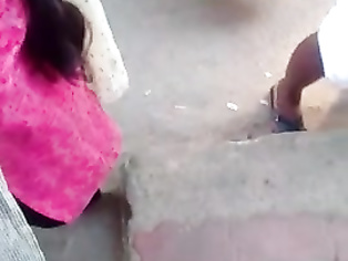 Indian married girl boobs cleavage in busstop
