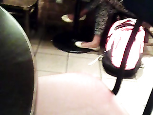 Candid Tamil Woman Feet in White Flats Starbucks
