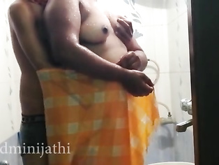 Tamil couple fucking with shower in the frist night mood