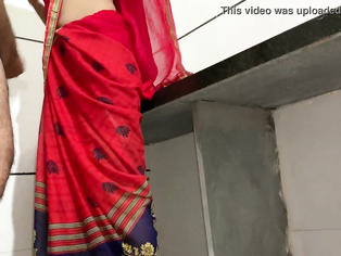 Brother fucking hard his cute sister Mohini in a red saree in the kitchen when parents not home hindi audio