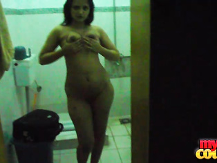 This dark-haired lovely hot Sonia in party wear stripped naked for shower with her husband Sunny.